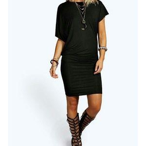 Boohoo Black Draped Mini Dress